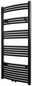vidaXL Čierny rebríkový radiátor na centrálne vykurovanie, zaoblený 600 x 1424 mm