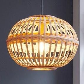 Závesná lampa Amsfield z bambusu oválny tvar