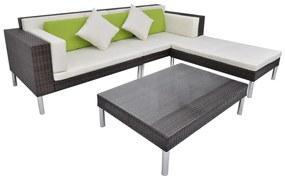 vidaXL 17-dielna záhradná sedacia súprava, polyratanová, hnedá