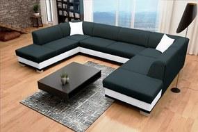 Rohová sedačka U Darcia (čierna+biela) (L)
