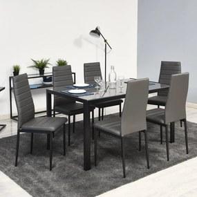 Veľký jedálenský set 6x stolička + stôl Catini MONET – sivá farba