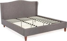 Antracitovosivá dvojlôžková posteľ Chez Ro Hobro, 180 × 200 cm