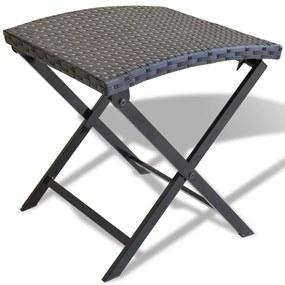 vidaXL Skladacia stolička z čierneho polyratanu