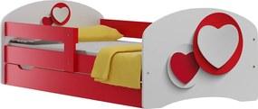 MAXMAX Detská posteľ so zásuvkami ČERVENÉ SRDCE 140x70 cm