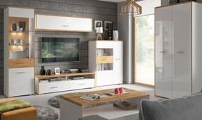 BRW Vitrína Bari REG1W1DP Farba: biely/dub prírodný/biely vysoký lesk/dub prírodný