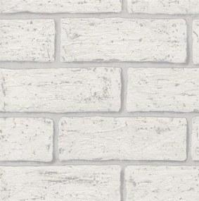 Vliesové tapety na stenu AS58407, rozmer 10,05 m x 0,53 m, tehla biela, Impol Trade