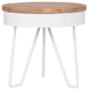 LABEL51 Rohový stolík Saran 44x44x43 cm drevo/biely
