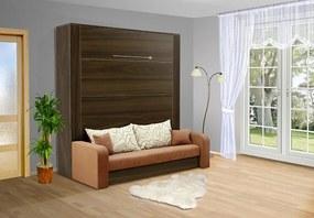 Nabytekmorava Sklápacia posteľ s pohovkou VS 3071P . 200x140 nosnost postele: štandardná nosnosť, farba lamina: orech 729, farba pohovky: nubuk 133 caramel