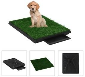 vidaXL Domáca toaleta pre psy s podnosom a umelou trávou zelená 63x50x7 cm