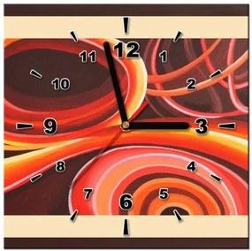 Tlačený obraz s hodinami Oranžový vír ZP3863A_1AI