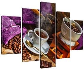 Obraz s hodinami Plné vrecia s kávou 150x105cm ZP1420A_5H