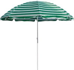 Slnečník plážový 180 cm, HAPPY GREEN, zelené pruhy