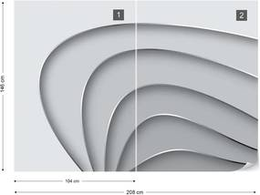 Fototapeta GLIX - 3D Layers Monochrome + lepidlo ZADARMO Vliesová tapeta  - 254x184 cm