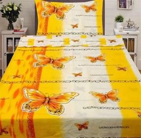 HoD Dvojstranné Obliečky Butterfly žlté Bavlna 70x90 140x200 cm