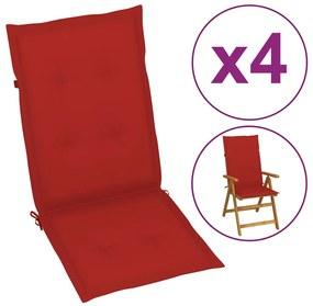 vidaXL Červené sedáky na záhradné stoličky, 4 ks, 120x50x3 cm