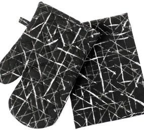 Kuchynská chňapka+utierka KANAFAS - vzor 087 dizajnové čiary na čiernom