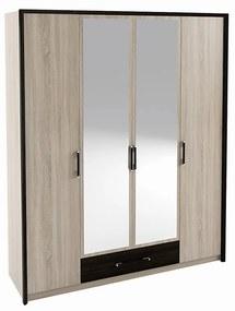 NABBI Seina W-4D štvordverová šatníková skriňa so zrkadlom dub sonoma / wenge magic