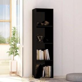 vidaXL Knižnica, lesklá čierna 40x30x151,5 cm, drevotrieska