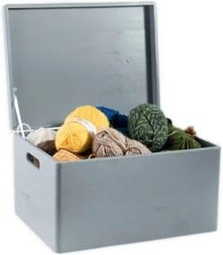 ČistéDrevo Dřevěný box s víkem 40x30x23 cm - šedý