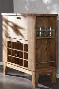 Bighome - Skrinka na víno MAKASSAR BAR - prírodná