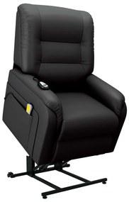 vidaXL Elektrické zdvíhacie masážne TV kreslo, čierne, umelá koža