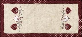 BO-MA Trading Obrus Srdiečka bodka červená, 40 x 90 cm