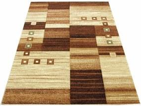Kusový koberec kockovaný hnedý, Velikosti 70x140cm
