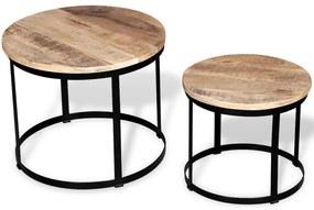 vidaXL Konferenčný stolík zo surového mangového dreva, 2 ks, okrúhly, 40 cm/50 cm
