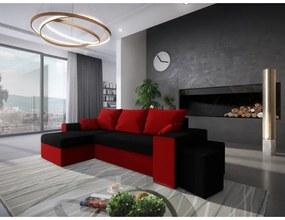 Rohová rozkladacia sedačka KLAUDIUS - čierna / červená