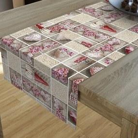 Goldea dekoračný behúň na stôl loneta - vzor šité červené srdce 20x120 cm