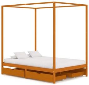 vidaXL Posteľný rám, baldachýn, 4 zásuvky, borovicový masív 140x200 cm