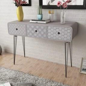 vidaXL Konzolový stolík s 3 zásuvkami, sivý