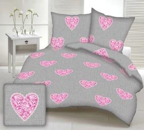 Obliečky bavlnené Love ružové  TiaHome 1x Vankúš 90x70cm, 1x Paplón 140x200cm