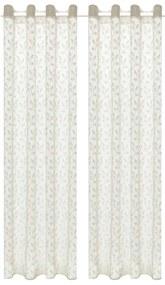 vidaXL Žakárové priehľadné záclony 2 ks 140x225 cm listy krémové