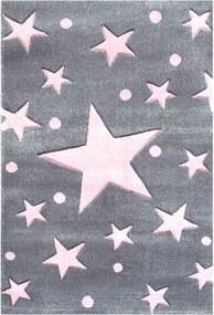 MAXMAX Detský koberec STARS strieborná-sivá/ružová 160x230 cm šedá