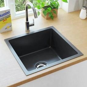 vidaXL Ručne vyrobený kuchynský drez so sitkom čierny nehrdzavejúca oceľ