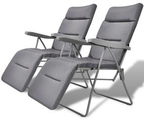 vidaXL Skladacia polohovateľná záhradná stolička s podložkou 2 ks, sivá