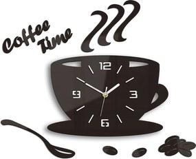 Moderné nástenné hodiny COFFE TIME 3D WENGE HMCNH045-wenge