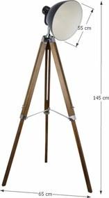 TEMPO KONDELA Cinda Typ 27 YFY804-A stojacia lampa prírodná / čierna / chróm