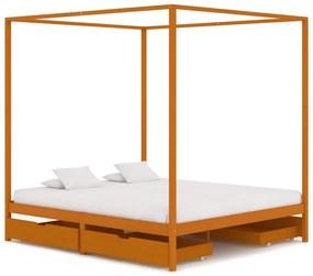 vidaXL Posteľný rám, baldachýn, 4 zásuvky, borovicový masív 160x200 cm