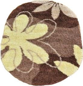Kusový koberec Shaggy Loca Savino hnedý ovál, Velikosti 140x190cm