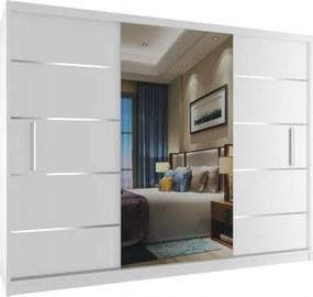 Veľká biela šatníková skriňa so zrkadlom a striebornými doplnkami S dojezdem