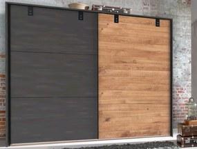 Šatník s posuvnými dverami Detroit, 250 cm, doskový dub / antracitová oceľ
