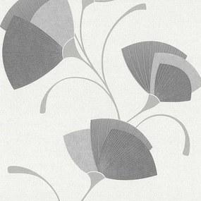 Vliesové tapety, listy sivé, Dieter Bohlen Spotlight 245810, P+S International, rozmer 10,05 m x 0,53 m