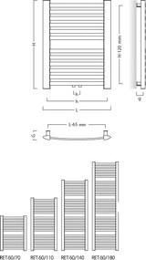 HOPA - Koupelnový radiátor RETTO - 540 × 1072 mm, výkon 520 W, Bílé (RADRET501135)