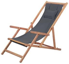 vidaXL Skladacie plážové kreslo, látka a drevený rám, sivé