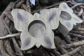 Hnedý svietnik na čajovú sviečku v tvare motýľa