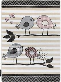Detský kusový koberec Vtáčiky krémový, Velikosti 180x270cm