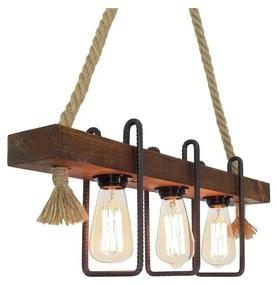 Drevené stropné závesné svietidlo Demir, 3 žiarovky