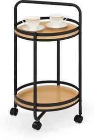 HALMAR Bar-11 servírovací stolík na kolieskach čierna / prírodná